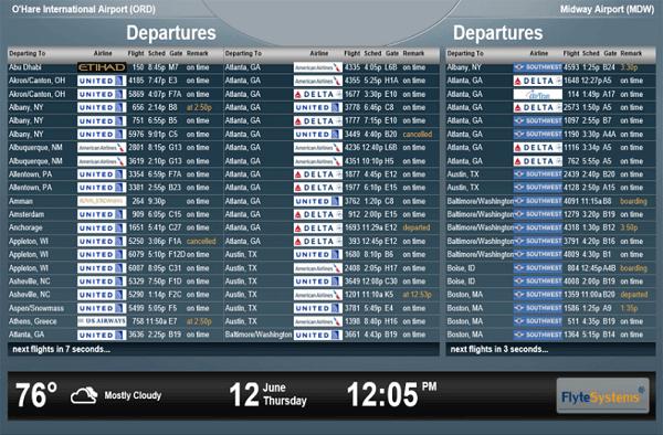 Indulási képernyő a reptéren